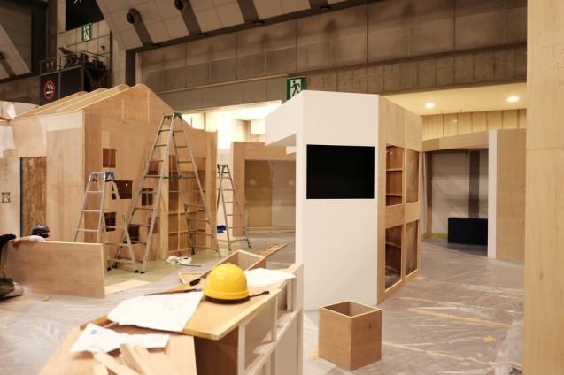 展示会ブースデザイン|設営の様子 JAPANTEX 2015 TOSOブース