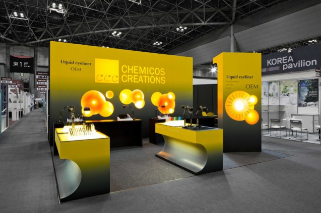 Creative Booth Exhibition : Cosme tech chemicos creations designcafe™|店舗デザイン