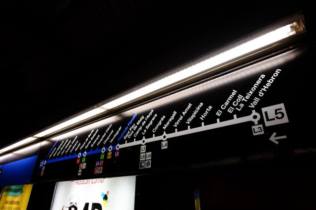 サグラダファミリア駅の路線図。