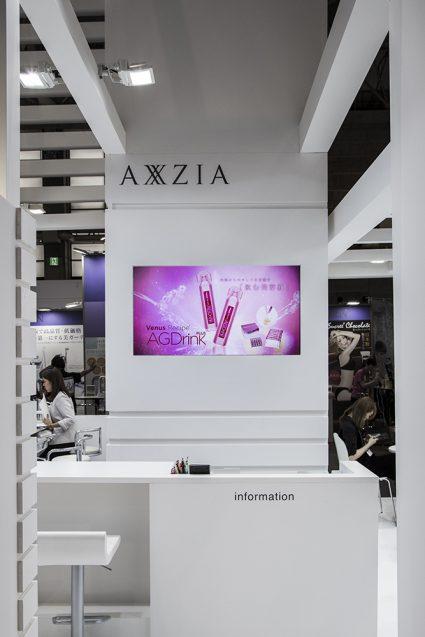 展示会デザイン、展示会装飾の事例|ビューティーワールドウェスト2018 アクシージア_ブース_2018 (7)