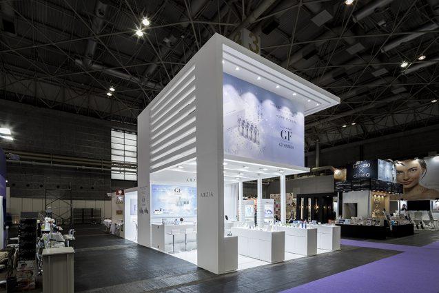 展示会デザイン、展示会装飾の事例|ビューティーワールドウェスト2018 アクシージア_ブース_2018 (15)