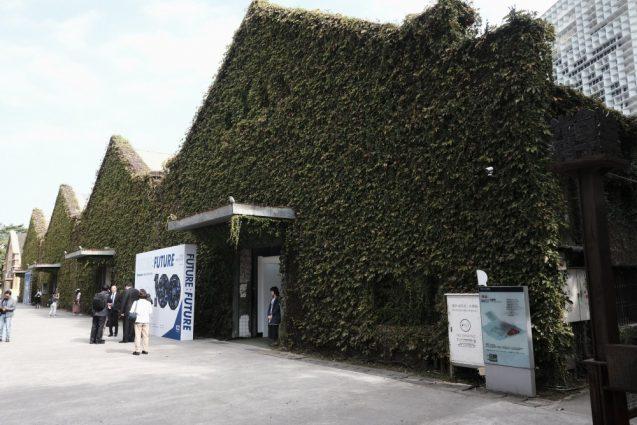 蔦で覆われた倉庫はイベントスペースとして活用されています。