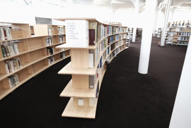 国立台湾大学社会学部棟+辜振甫記念図書館。ライブラリーの書架はバンブーの集成材で作られています。なかなか贅沢。
