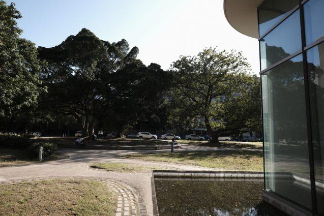 辜振甫記念図書館から前庭を眺める。