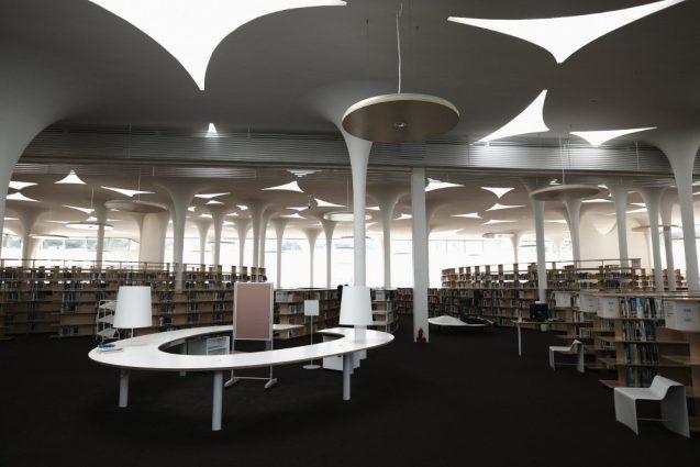 国立台湾大学社会学部棟+辜振甫記念図書館。社会学部棟から入場するとこんな感じに見えてきます。