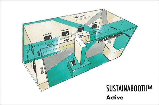 展示会木工パッケージレンタルブース:SUSTAINABOOTH™ ACTIVEは主にSaaSやPCでのデモンストレーションを必要とする展示会用のブースデザイン。イメージは3m×6m(クリックすると拡大します)