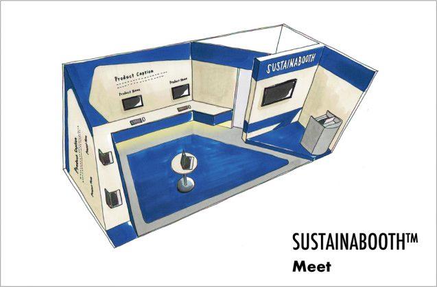 展示会木工パッケージレンタルブース:SUSTINABOOTH™ MEETは主にSaaS系の展示会の中でステージでの集客を必要とする展示会用のブースデザイン。イメージは3m×6m(クリックすると拡大します)