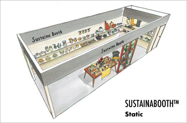 展示会木工パッケージレンタルブース:SUSTINABOOTH™ STATICは物販店舗をイメージしたブースデザイン。イメージは3m×9m(クリックすると拡大します)