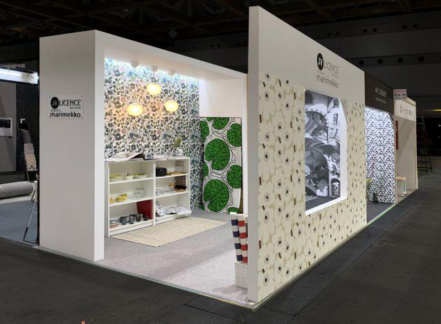 展示会木工パッケージレンタルブース:SUSTAINABOOTH™ WALLは壁量を必要とする壁装材、建材などの展示会に向いたデザイン。イメージは3m×6m。(クリックすると拡大します)