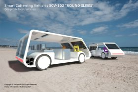 "Smart Catterring Vehicles SCV-102 ""ROUND SLICES"" Designcafe food stall series CONCEPT."
