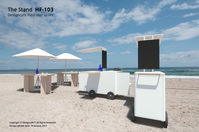 デザイン屋台:The Stand_HF103のモックアップ。HF-103は、HF-104の格納量を約二倍にし、小型可搬可能で大人数での炊き出し、加熱調理と販売の二系統の作業が1台で賄えることを念頭におき開発しました。