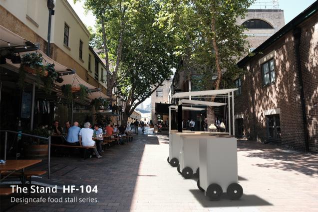 デザイン屋台:The Stand_HF104のモックアップ。HF-104は、ザ・スタンド・ファミリーの中で最も小型でコンパクトなデザインの屋台です。 日本人は皆んな大好きなカレーライスやシチューなどのスープ系の食事を提供するために開発されました。