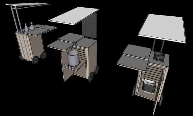 """デザイン屋台""""The Stand"""" HF-104 パース図。W600/D600/H1200〜1000。トップのテーブルは回転式で3枚が回転しながら拡張、収納部分は棚と寸胴鍋とカセットコンロを格納できカスタムも可能。屋根は取り外しが可能です"""