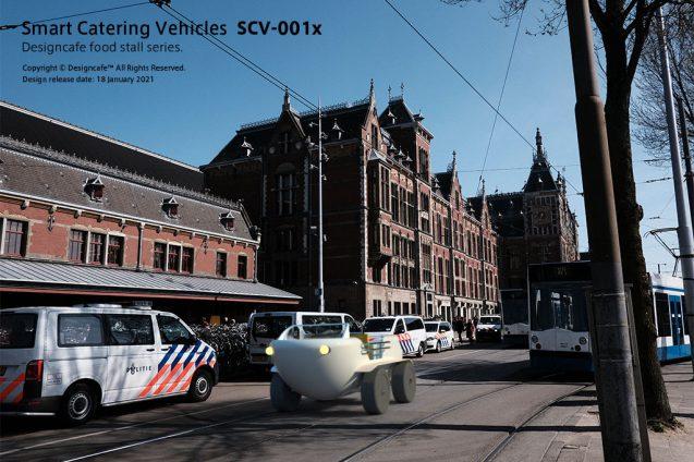 "Smart Catterring Vehicles ""SCV-001x"" ケータリング専用配達車のコンセプト/ 水陸両用電動車のデザイン (5)"