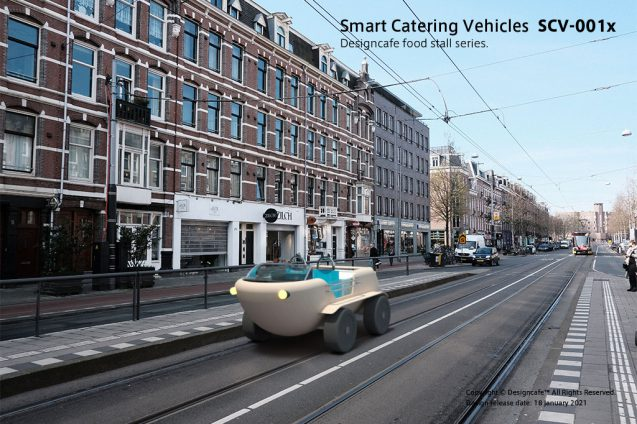 "Smart Catterring Vehicles ""SCV-001x"" ケータリング専用配達車のコンセプト/ 水陸両用電動車のデザイン (4)"