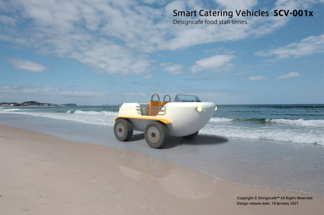 "Smart Catterring Vehicles ""SCV-001x"" ケータリング専用配達車のコンセプト/ 水陸両用電動車のデザイン (1)"