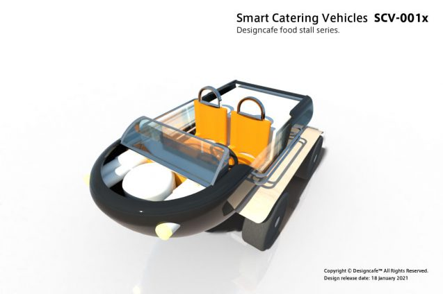 "Smart Catterring Vehicles ""SCV-001x"" ケータリング専用配達車のコンセプト/ 水陸両用電動車のデザイン (3)"