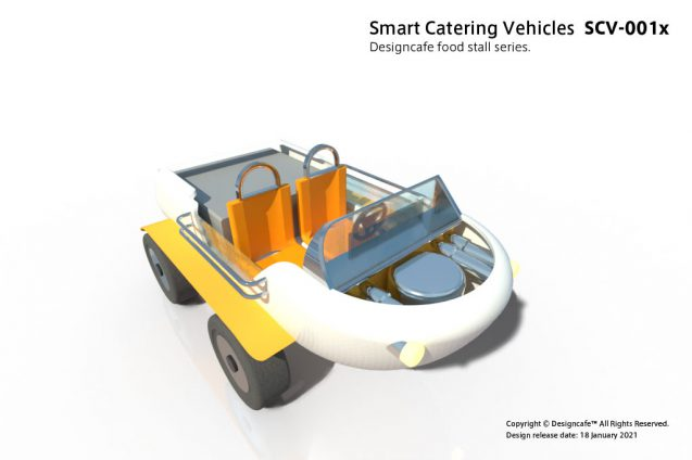 "Smart Catterring Vehicles ""SCV-001x"" ケータリング専用配達車のコンセプト/ 水陸両用電動車のデザイン (2)"
